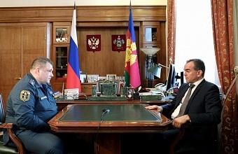 Кондратьев встретился с новым начальником ГУ МЧС по Краснодарскому краю