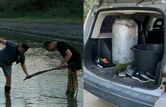 Краснодарские рыбаки спасают мальков из высыхающего канала