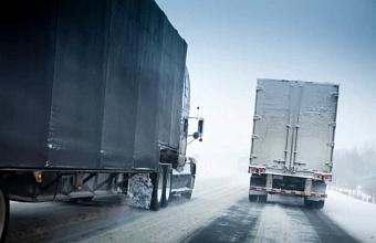 Въезд транзитных  большегрузов в Краснодаре ограничен из-за снегопада