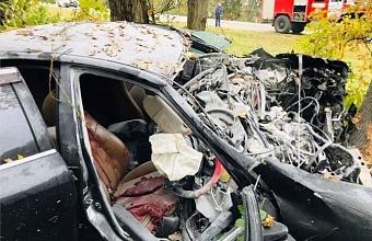 В Краснодаре иномарка съехала с мокрой дороги и врезалась в дерево